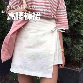 夏季出清折100✨[全新]小高腰側邊蝴蝶結綁帶短裙