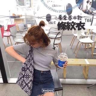 夏季出清折50✨[全新]Bonjour字母刺繡細橫紋圓領短袖TEE T恤