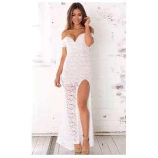 Showpo White Lace Maxi Dress Size XS 6