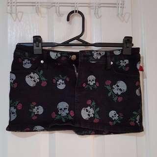 REDUCED Tripp Dangerfield Skull & Roses Mini Skirt