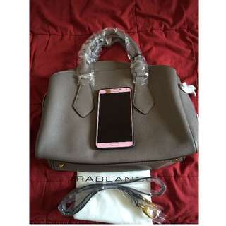 Reserved: Rabeanco 灰色硬皮革手提包(手提、斜背2用)