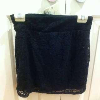 Lace Black Mini Skirt