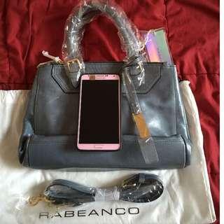 (已預定)Rabeanco 灰藍色皮革小手提包(手提、斜背2用)