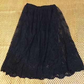 黑 蕾絲 長裙