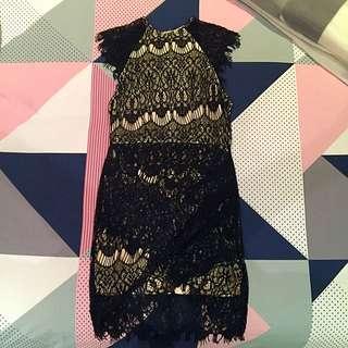 Black Lace & Cream Underlay Dress