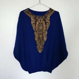 Top Batwing Blue And Gold