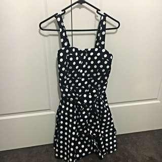 Navy Polka Dot Dress. Size 8.