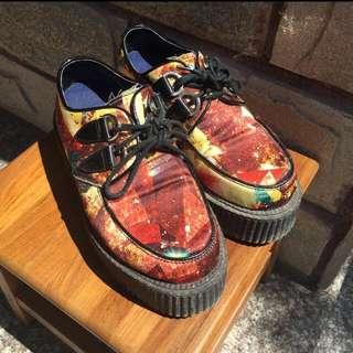 🚚 復古 星空 渲染 古著 厚底 增高 鞋