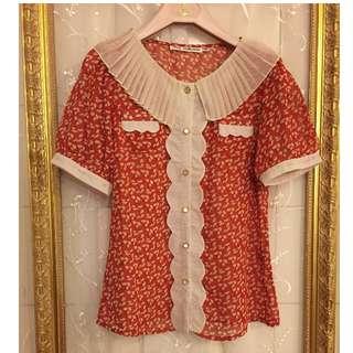 壓摺翻領波浪花邊裝飾印花雪紡短袖襯衫