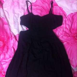 Black Side Cut Dress