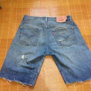 Levis 501 W31 牛仔短褲 破壞 刀割