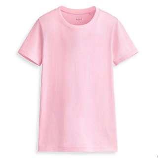 Lativ PIMA100%棉圓領短袖T恤上衣舒適水洗柔軟彈性耐穿百搭透氣長絨棉USA非有機棉非無印良品uniqlo H&M GU Zara淡粉 粉紅