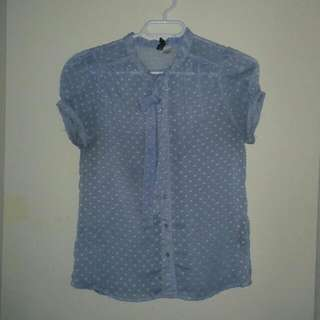 Dotted Blue Blouse