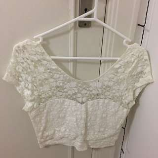 Bow-backed Lace Crop Top