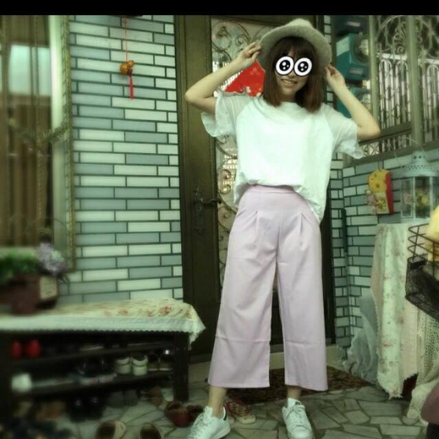 全新粉紅色寬褲