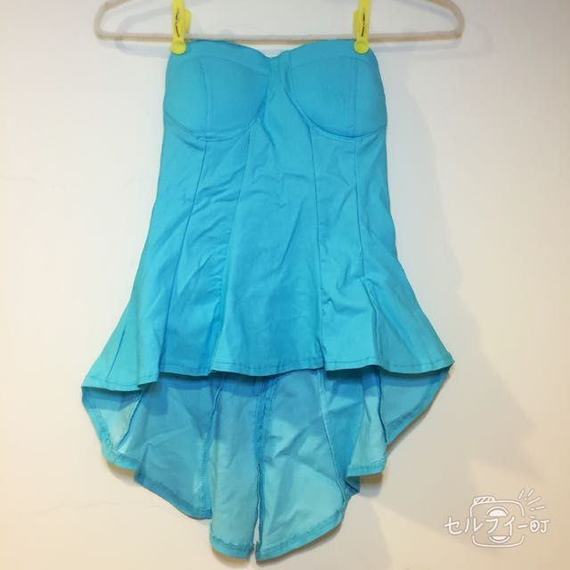 全新性感水藍前短後長上衣