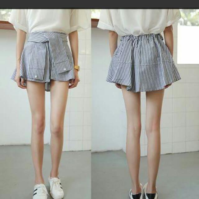 全新條紋假綁帶褲裙