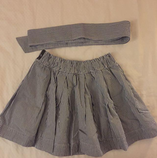 Abercrombie&Fitch深藍修紋短裙 附腰帶 全新䴢鹿