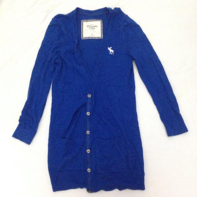 長版深藍針織a&f外套