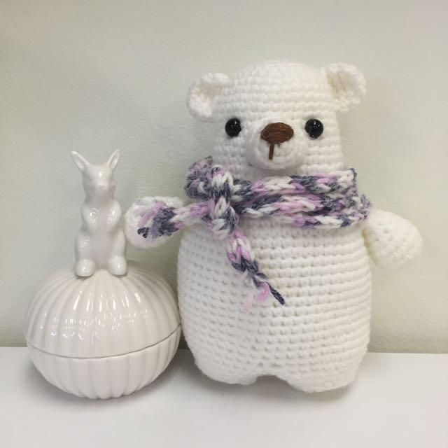 Polar bear in blue scarf softy knitted amigurumi toy handmade ... | 640x640
