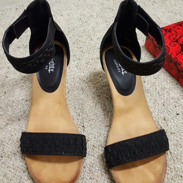 Black Strap Low Heels