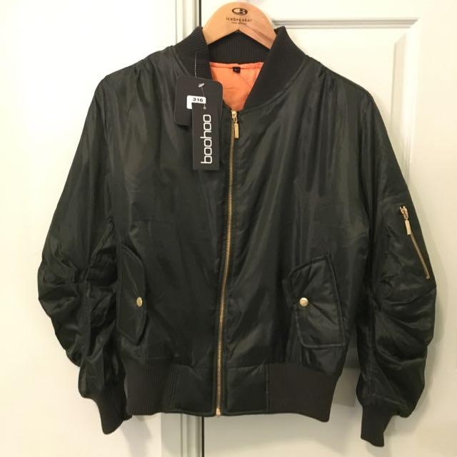Boohoo Khaki Bomber Jacket