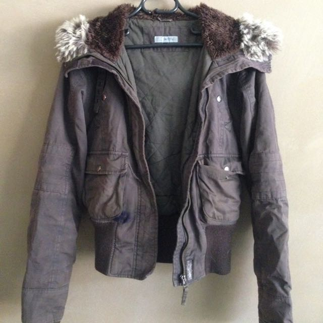 Brown Bomber Jacket With Faux Fur Hood