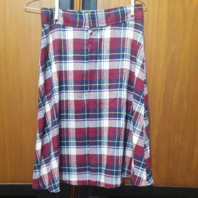Checkered Midi Skirt