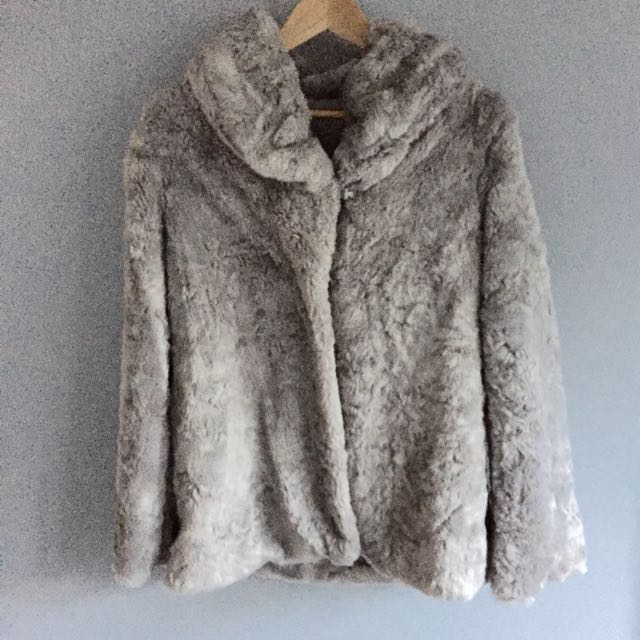 Free Shipping Faux Fur Grey Colour Jacket