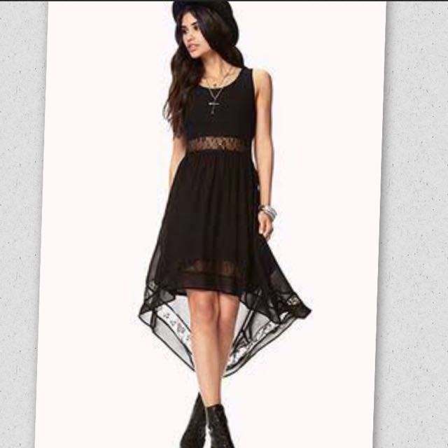 FOREVER 21 BEAUTIFUL WATERFALL LACE DRESS BLACK