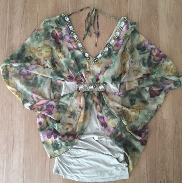 Green Floral Dress - Medium