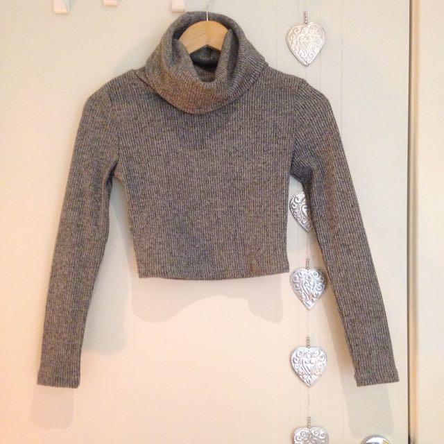 Grey Cropped Knit