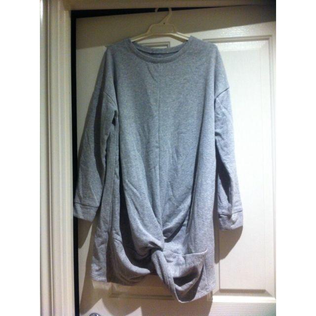 Grey Jumper Dress With Twist Detail
