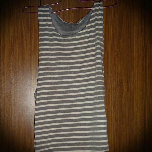 Grey Stripes Reversible Top