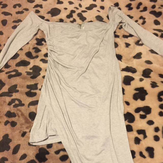 GREY TIERED HEM DRESS