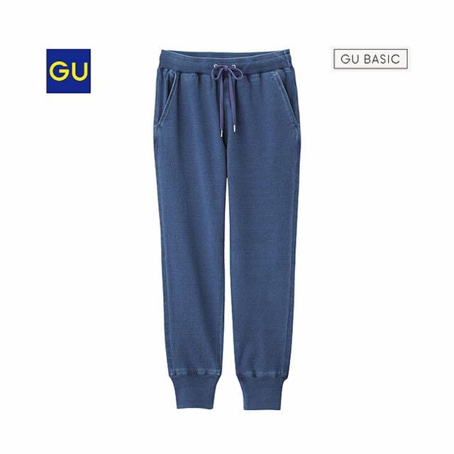 GU休閒輕便綁帶牛件褲