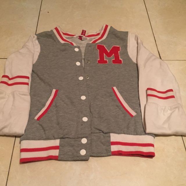 H&m M Grey Varsity Sweater