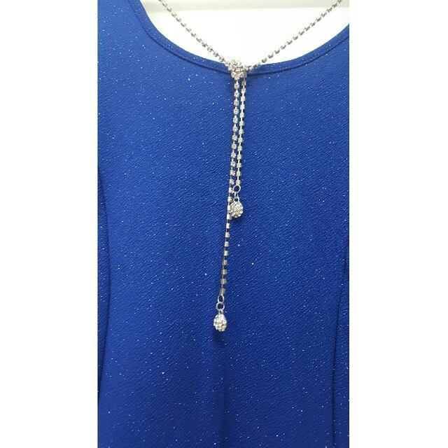ICE Blue Glittery Dress Diamante Necklace