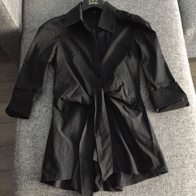 Le Chateau Black Button Down Shirt With A Front Tie