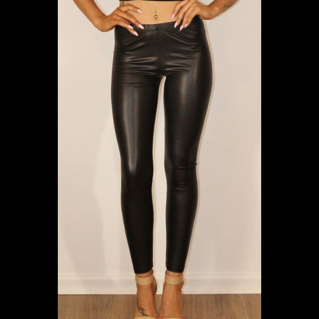 Leather Look Tights | Size XS