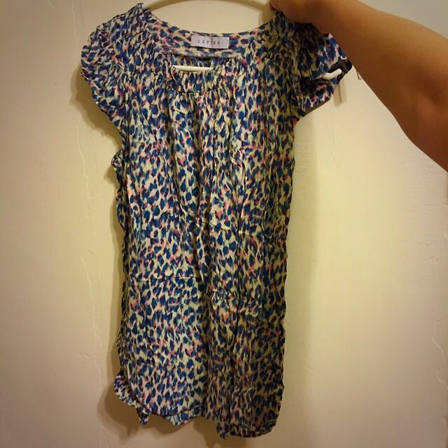 LETTER 藍紫色印花無袖上衣