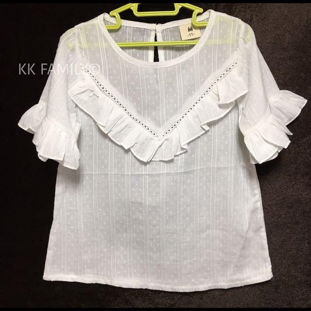 【夏季出清】MIT白蕾絲緹花襯衫