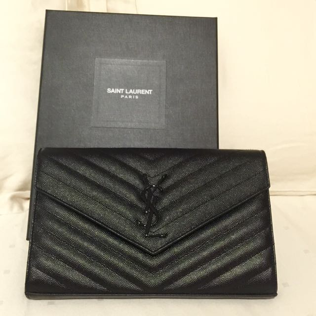 Authentic Brand New Monogram Saint Laurent Chain Wallet In Black Grain  Poudre Textured Matelassé Leather 5da9788bc7641
