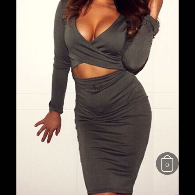 OLIVE CUT OUT BODYCON DRESS