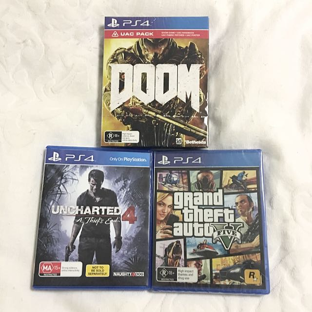 PS4 Uncharted 4 + Grand Theft auto V + Special Ed Doom