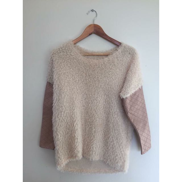 Sheep Wool Jumper, Faux Leather arms