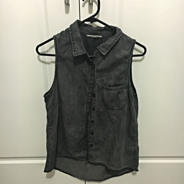 Size S Grey Denim Top