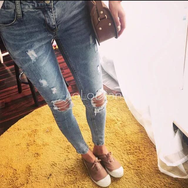 緊身破skinny藍刷色牛仔褲
