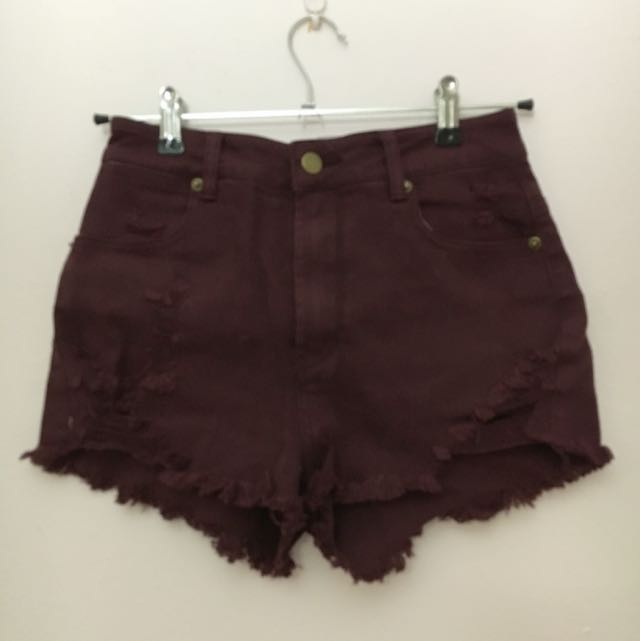 Supre Size XS Maroon High waisted Shorts