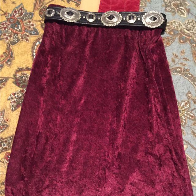 Velvet High Waisted Skirt
